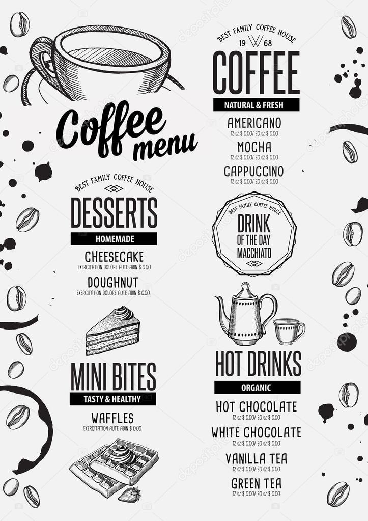 Restaurant Menü Kaffee, Getränke Vorlage — Stockvektor © Marchi ...
