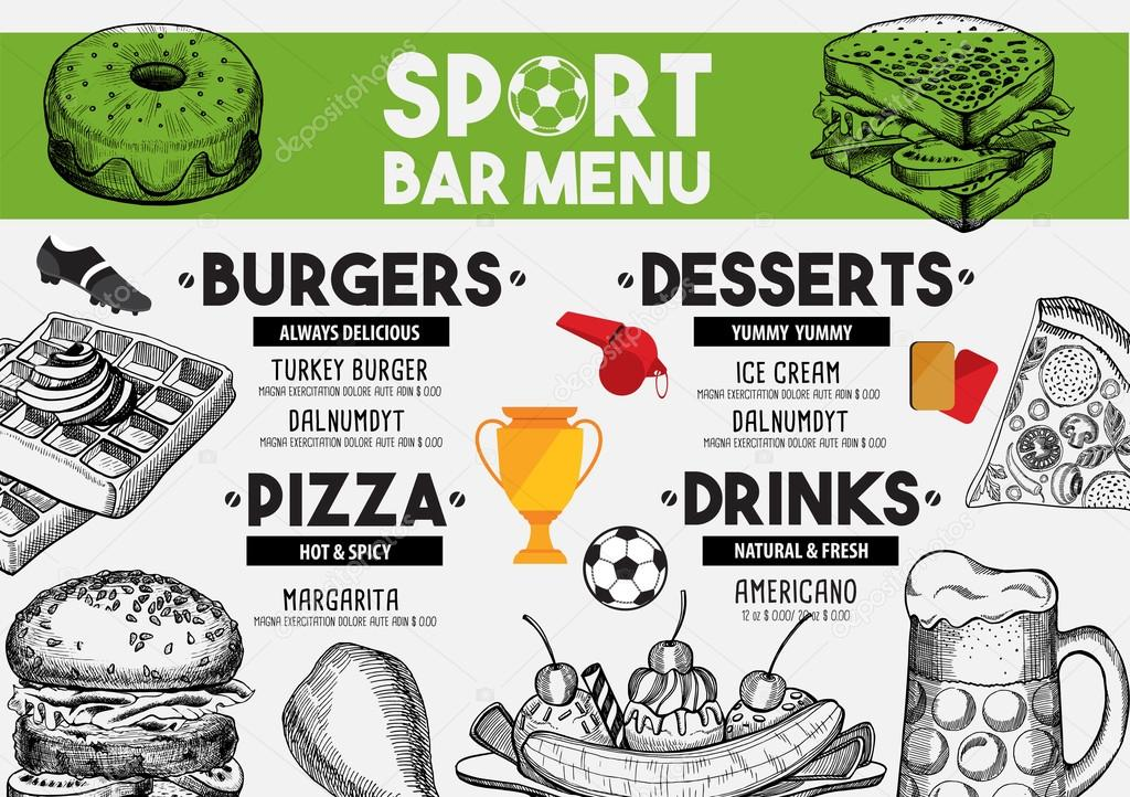 Menü Sport Bar Restaurant, Essen Vorlage — Stockvektor © Marchi ...