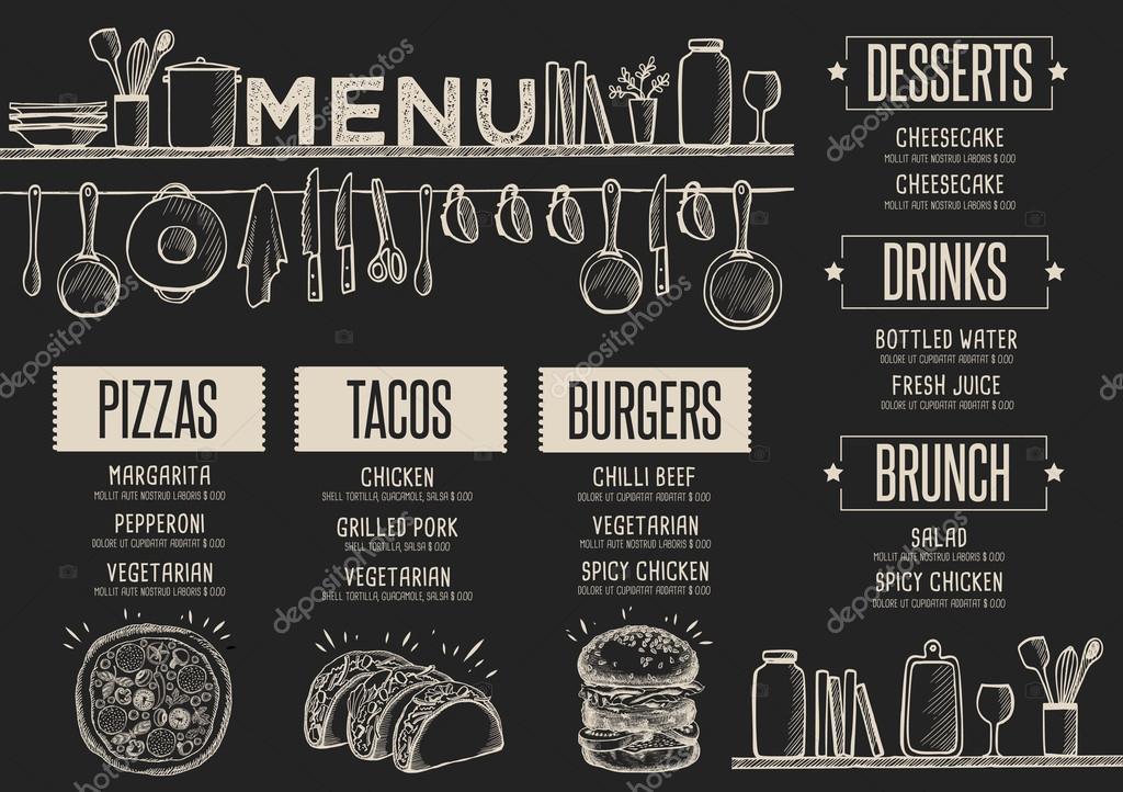 Restaurante de menú, plantilla de alimentos — Vector de stock ...