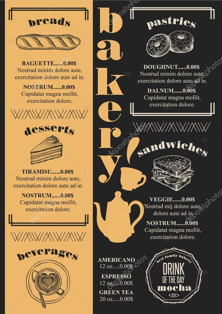 Menu bakery restaurant food template stock vector marchi bakery coffee menu placemat food restaurant brochure cafe template design vintage creative bread flyer with hand drawn graphic vector by marchi altavistaventures Image collections