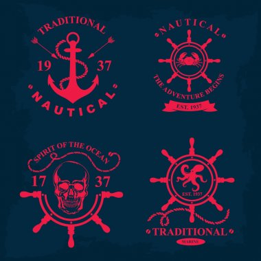 Nautical marine badge design.