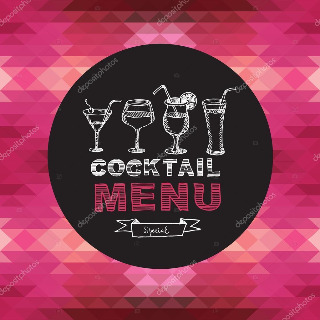 coctelería de menú, diseño de plantillas — Archivo Imágenes ...