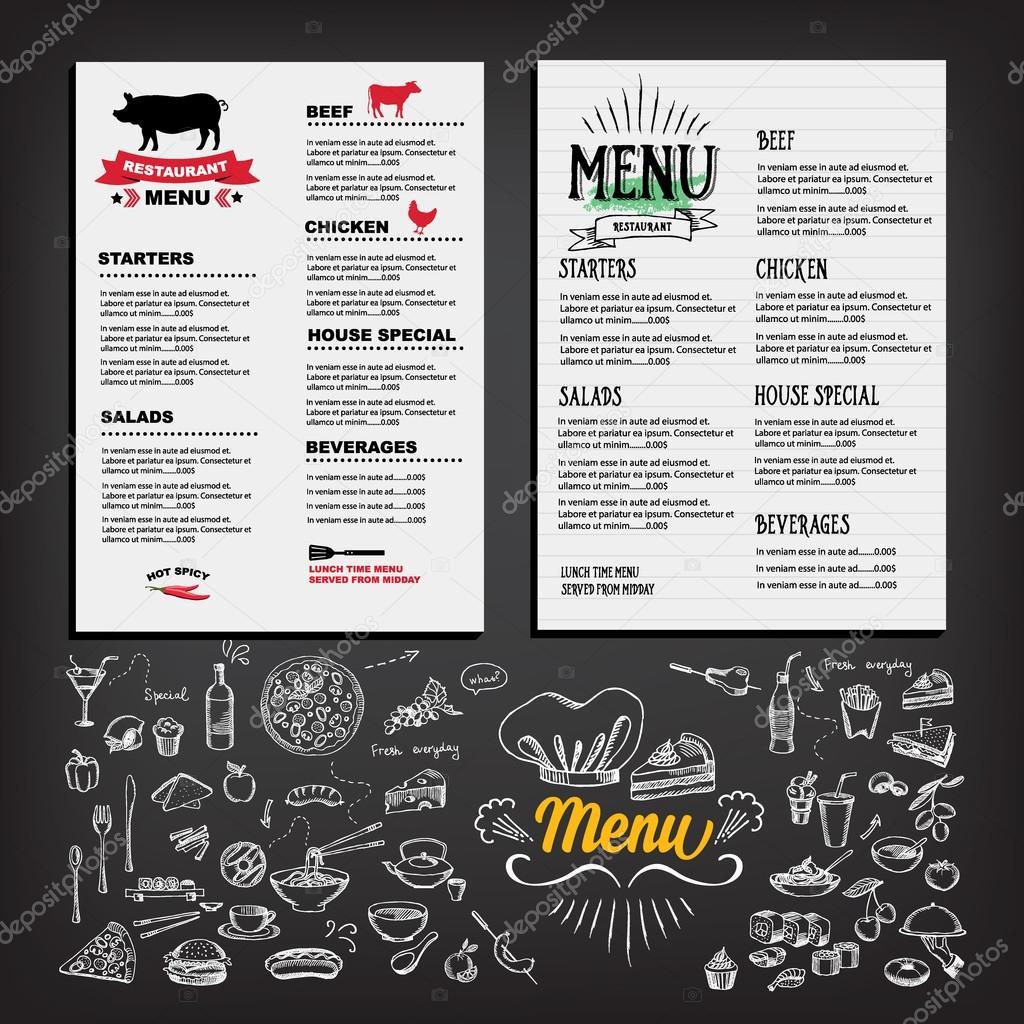 Menú de alimentos, diseño de la plantilla de restaurante — Vector ...