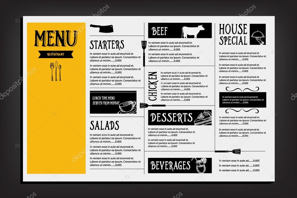 restaurant cafe menu template design stock vector marchi 70296061