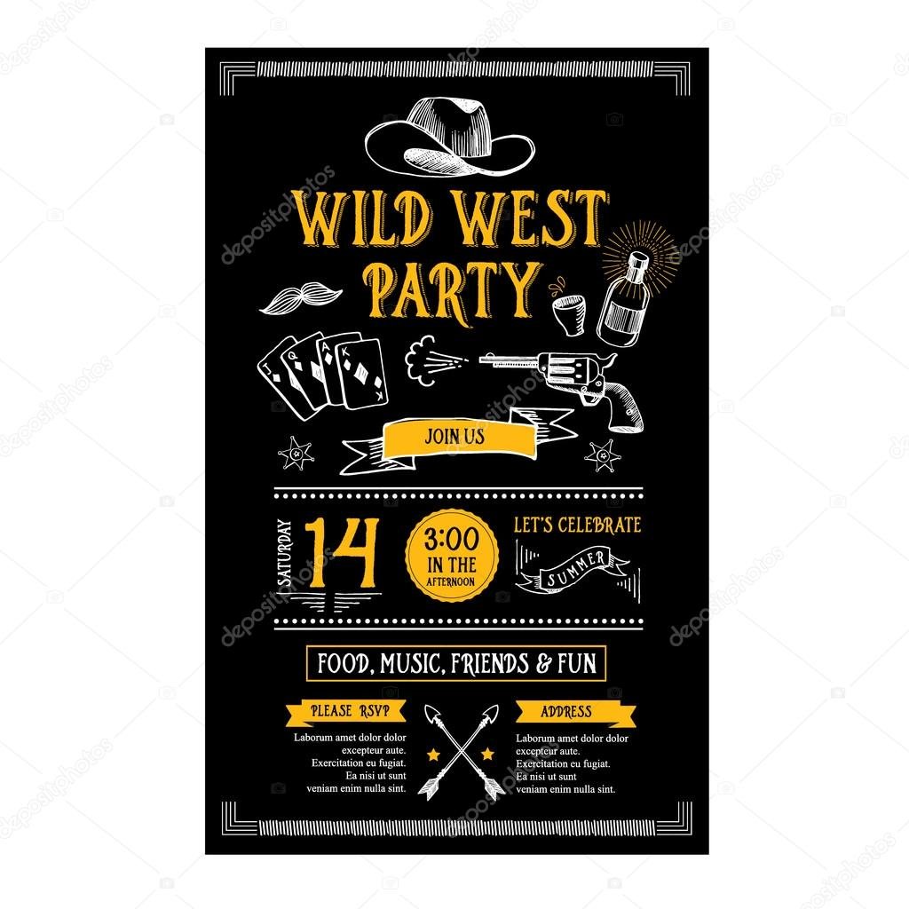 Invitation wild west party flyer