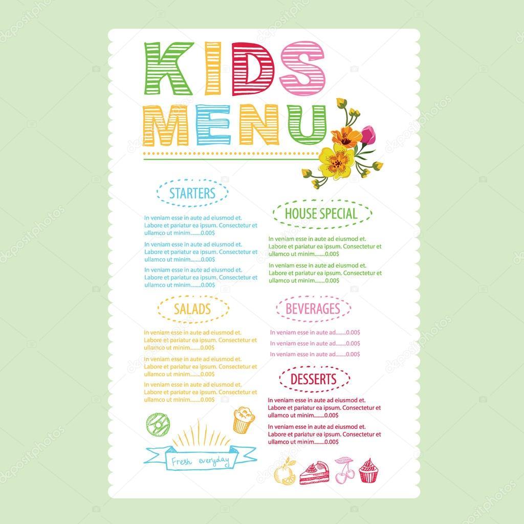 Kids menu template — Stock Vector © Marchi #70297319