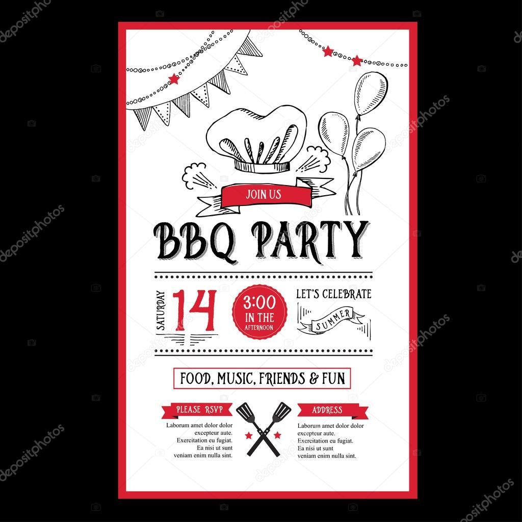barbecue party invitation stock vector marchi 73020041