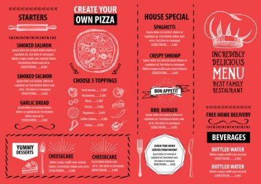 Red restaurant menu template design