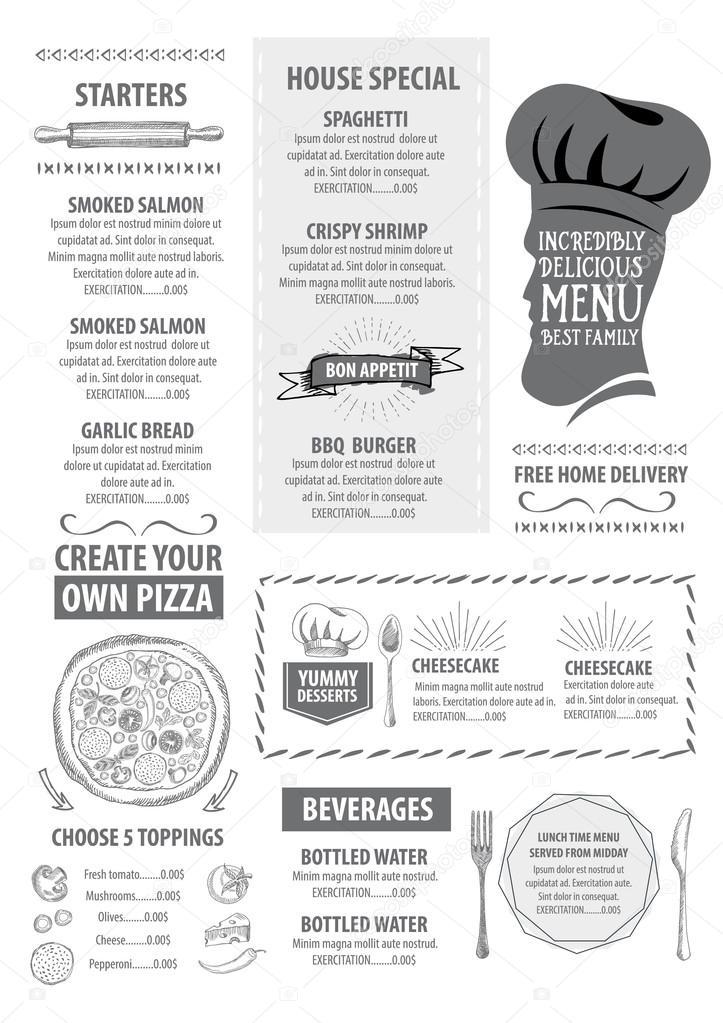 italian restaurant menu template design stock vector marchi