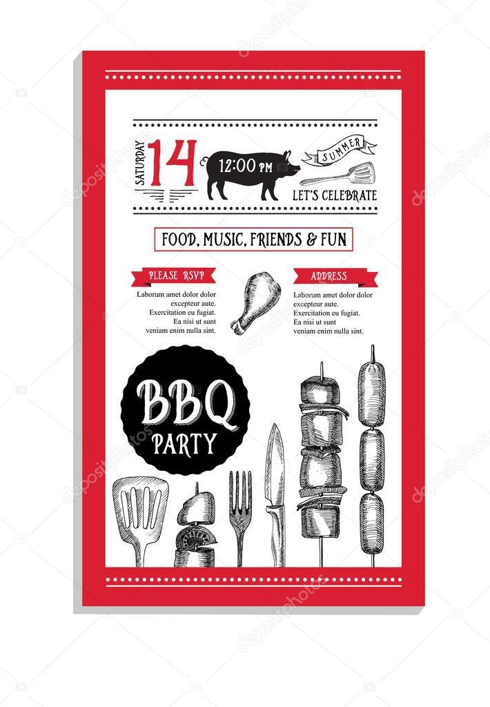 Bbq sjabloon menu ontwerp brochure stockvector marchi 78124458 - Barbecue ontwerp ...