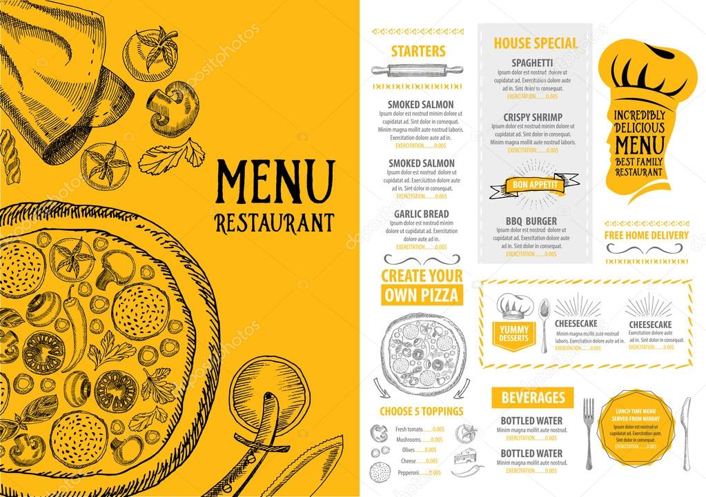 pizza restaurant menu stock vector marchi 78124494