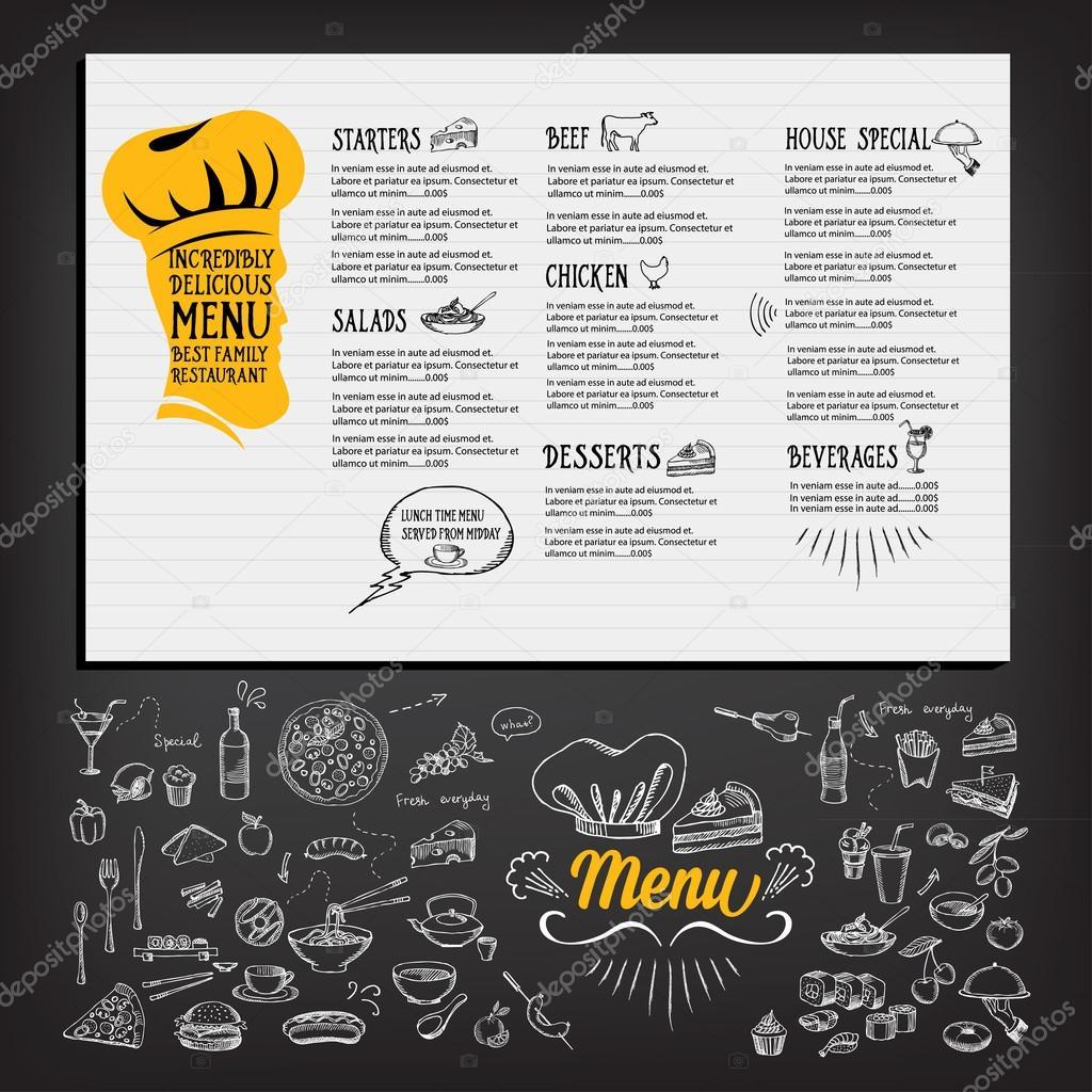 diseño de plantillas de menú de restaurante — Vector de stock ...