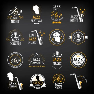 Jazz music party logo