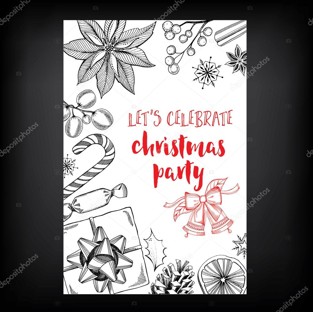 Christmas party invitation card — Stock Vector © Marchi #85946366