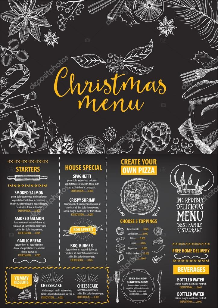christmas menu brochure food flyer ストックベクター marchi
