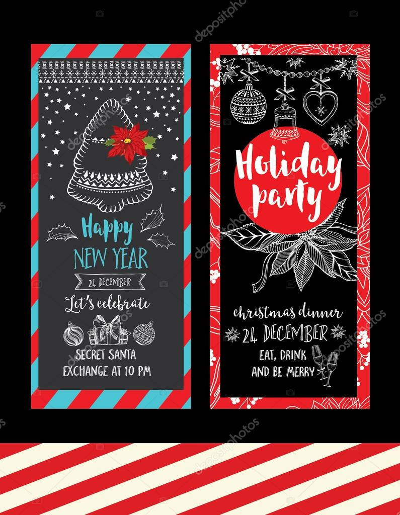 Christmas party invitations. Holiday cards. — Stock Vector © Marchi ...