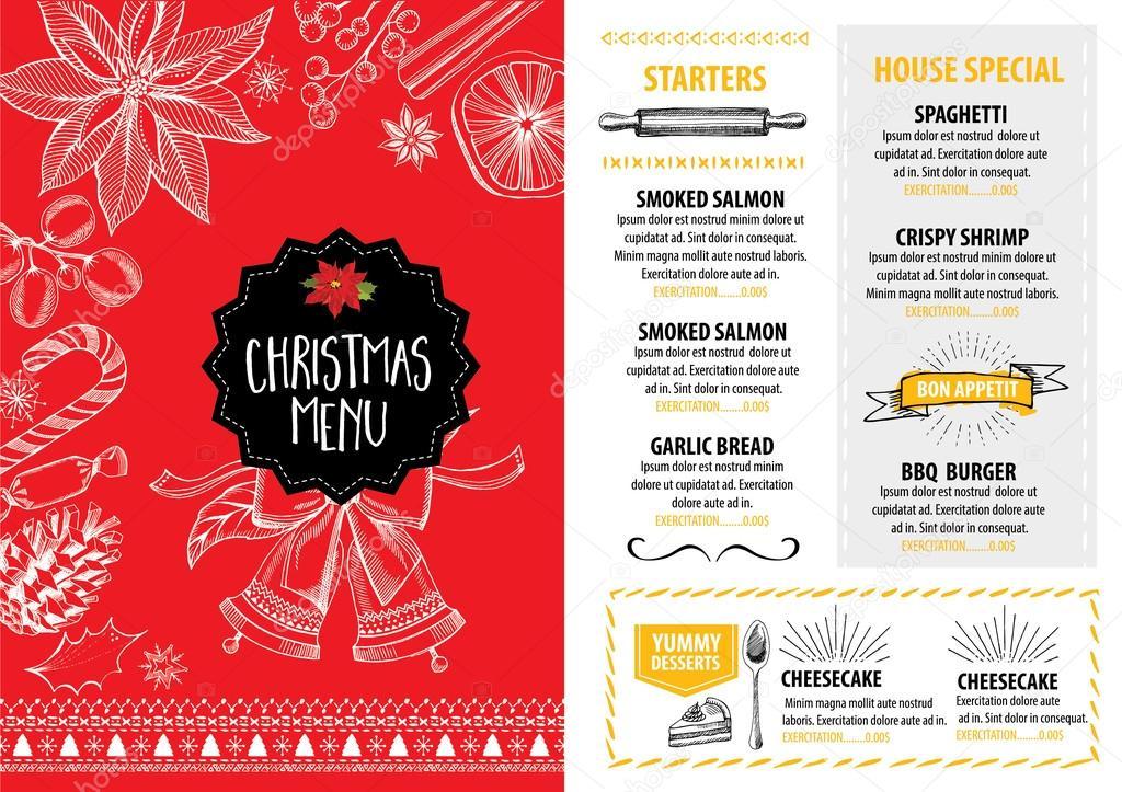 Christmas menu brochure. Food flyer. — Vector de stock © Marchi ...