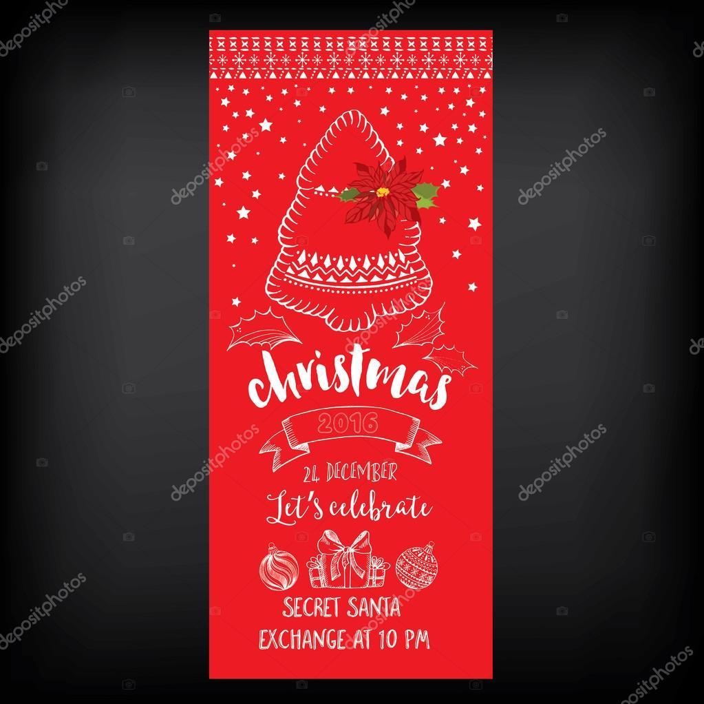 Christmas Party Invitation Holiday Card Stock Vector