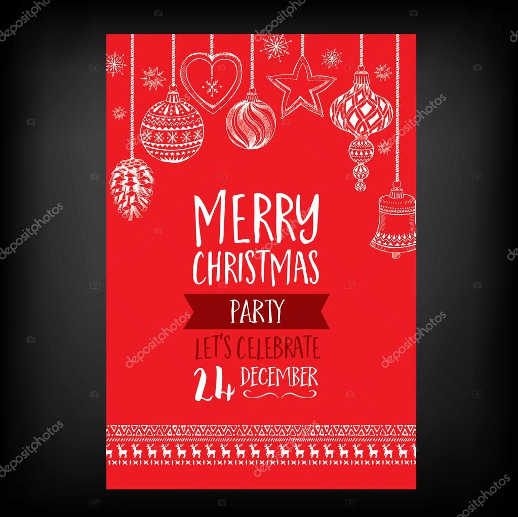 Christmas party invitation. Holiday card. — Stock Vector © Marchi ...