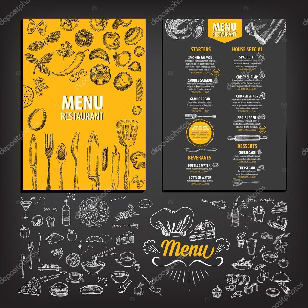 Restaurante cafetería menú, diseño de plantillas — Vector de stock ...