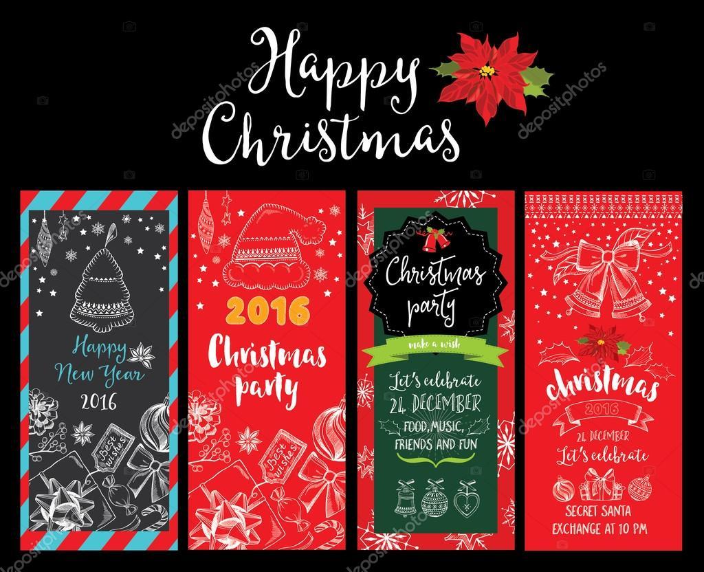 Invitación de la fiesta de Navidad. Tarjeta navideña — Archivo ...