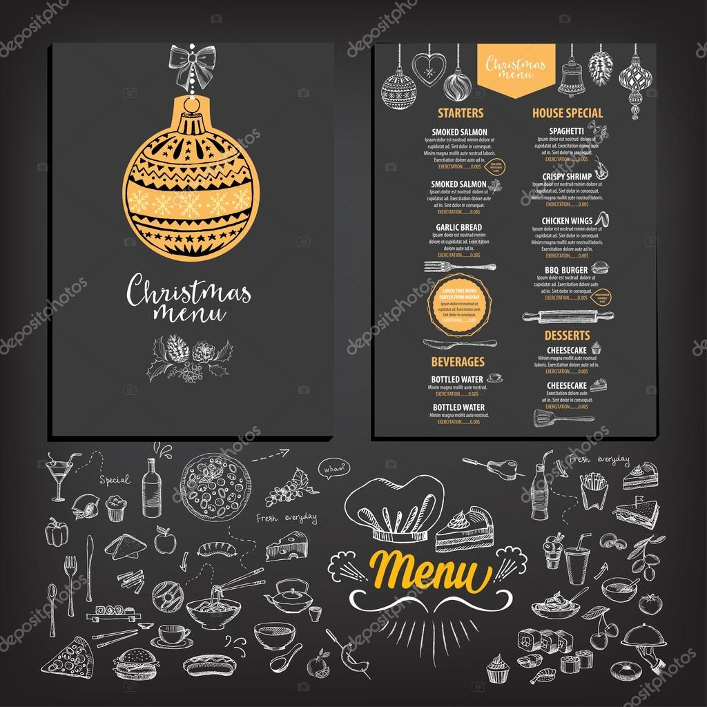 Christmas Party Einladung restaurant — Stockvektor © Marchi #89855776