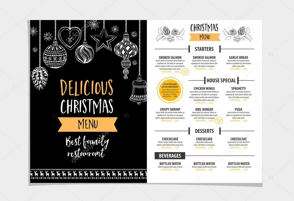 Christmas party invitation restaurant stock vector marchi 89855828 vector christmas restaurant brochure menu design vector holiday template with xmas hand drawn graphic happy new year invitation flyer vector by marchi stopboris Choice Image