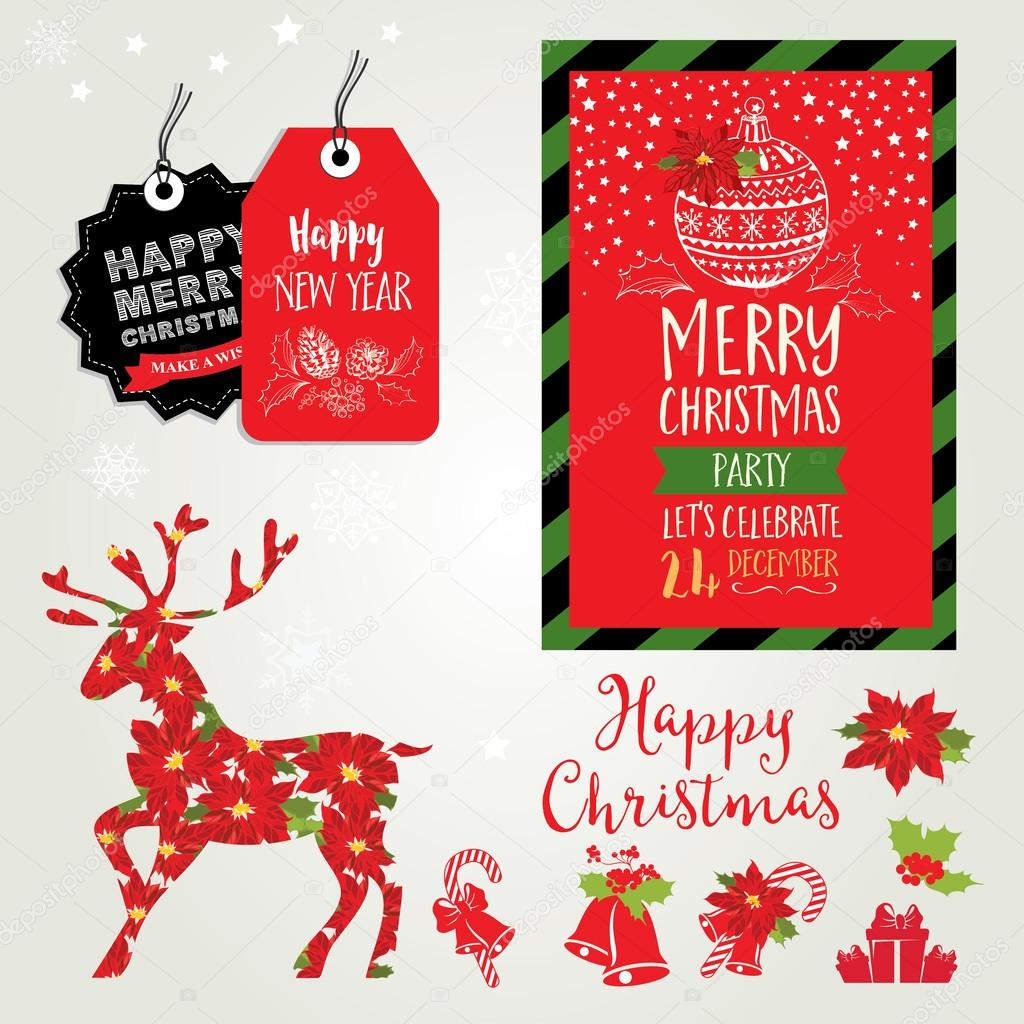 christmas party invitation holiday card stock vector marchi