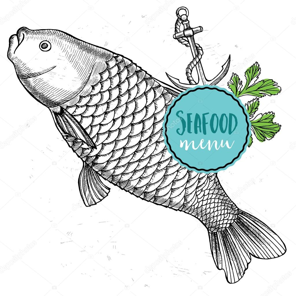 Seafood Cafe Menu Brochure Stock Vector C Marchi 96143150