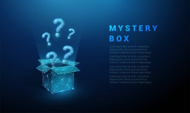 Abstract blue question marks flying from the open box. Low poly style design. Geometric background. Wireframe light connection structure. Modern 3d graphic concept. Isolated vector illustration icon