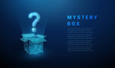 Abstract blue question mark flying from the open box. Low poly style design. Geometric background. Wireframe light connection structure. Modern 3d graphic concept. Isolated vector illustration icon