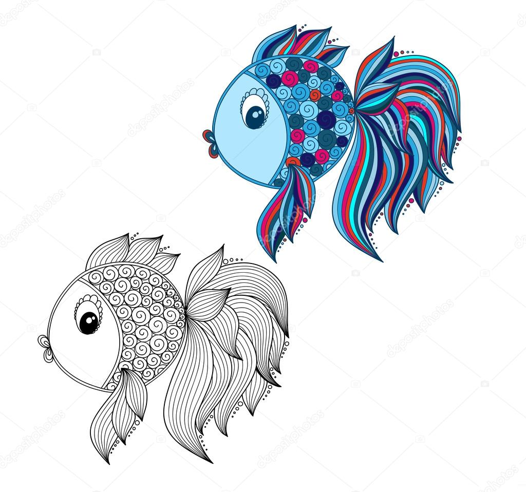 Color coloring book for young children - colorful fish — Stock Photo ...