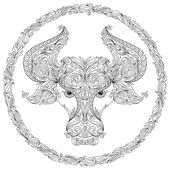 Hand drawn line flowers art of zodiac Taurus.