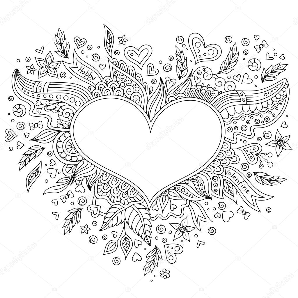 Colorear página flor corazón San Valentín tarjeta de felicitación ...