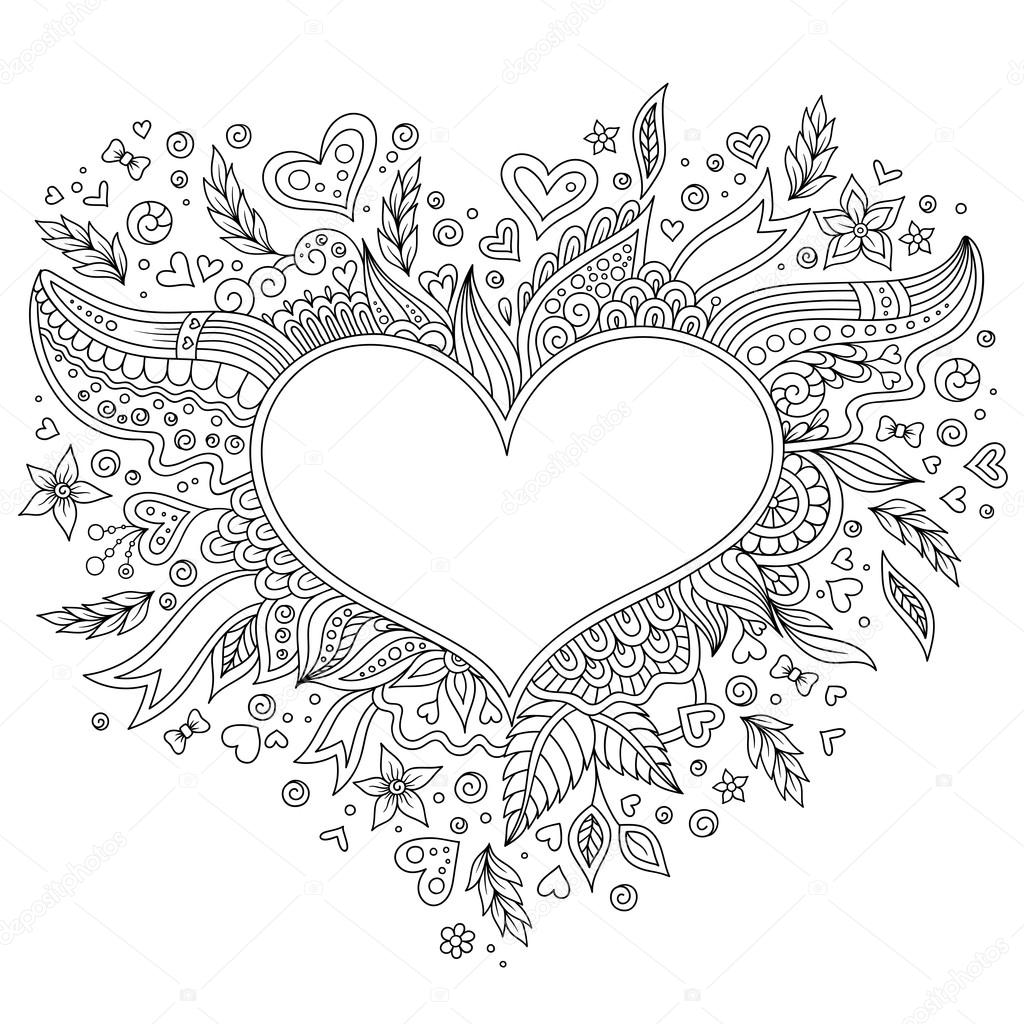 Sayfa çiçek Kalp St Sevgililer Günü Tebrik Kartı Boyama Stok Foto