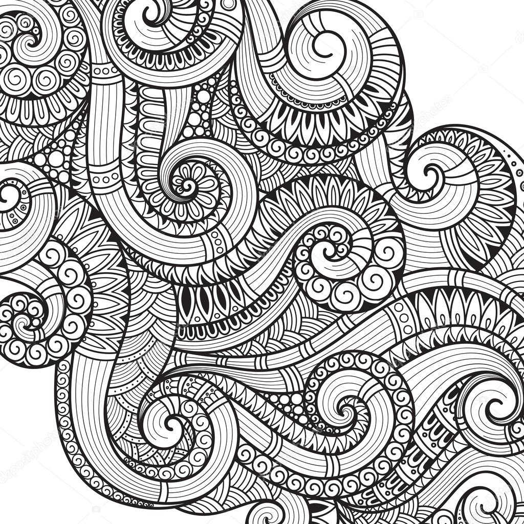 Abstract Pattern For Coloring Book Ethnic Floral Retro Doodle Tribal Design Element Black And White Background Henna Paisley Mehndi