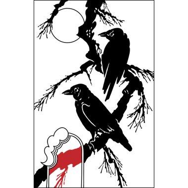 ravens bird on tree branch - black vector silhouette on white.