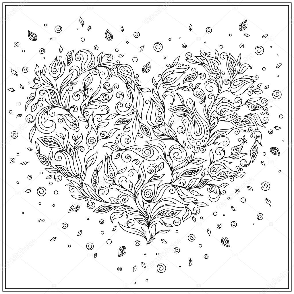 Coloriage Carte De Voeux Page Fleur Coeur St Valentin Photographie