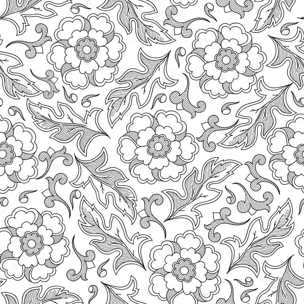 Patrón sin fisuras de trama floral vintage con flores dibujadas a ...