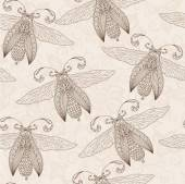 Night creatures seamless pattern with moths and fireflies.