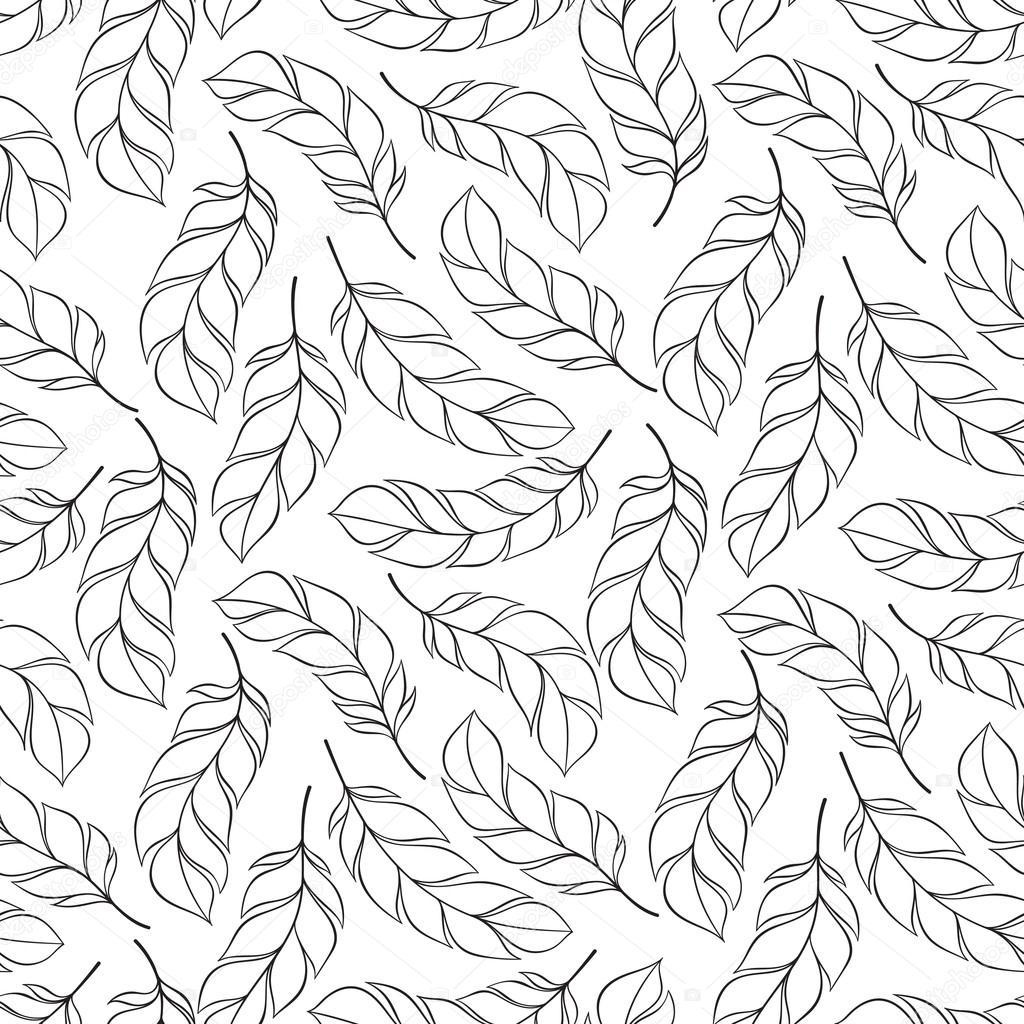 vendimia de patrones sin fisuras con plumas dibujados a mano — Foto ...
