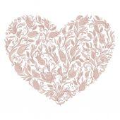 Szép sziluett, a szív, a csipke virágok, indák, és