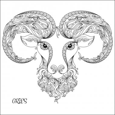 Pattern for coloring book. Hand drawn line flowers art of zodiac Aries. Horoscope symbol for your use. For tattoo art, coloring books set. Henna Mehndi Tattoo Ethnic Zentangle Doodles style.
