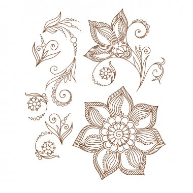 Henna tattoo doodle  elements on white background.