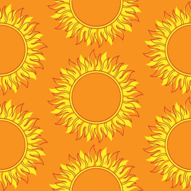 Cute seamless  pattern of sun. Doodle hand drawn style . Bright and beautiful retro seamless pattern. Retro Patterns Set stock vector