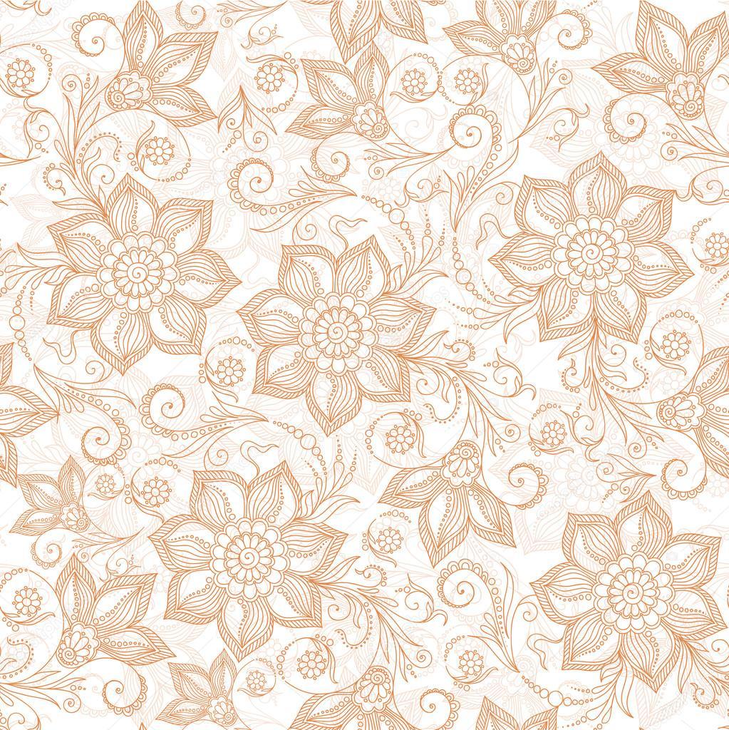 Henna Mehndi Tattoo Doodles Seamless Pattern Stock Photo