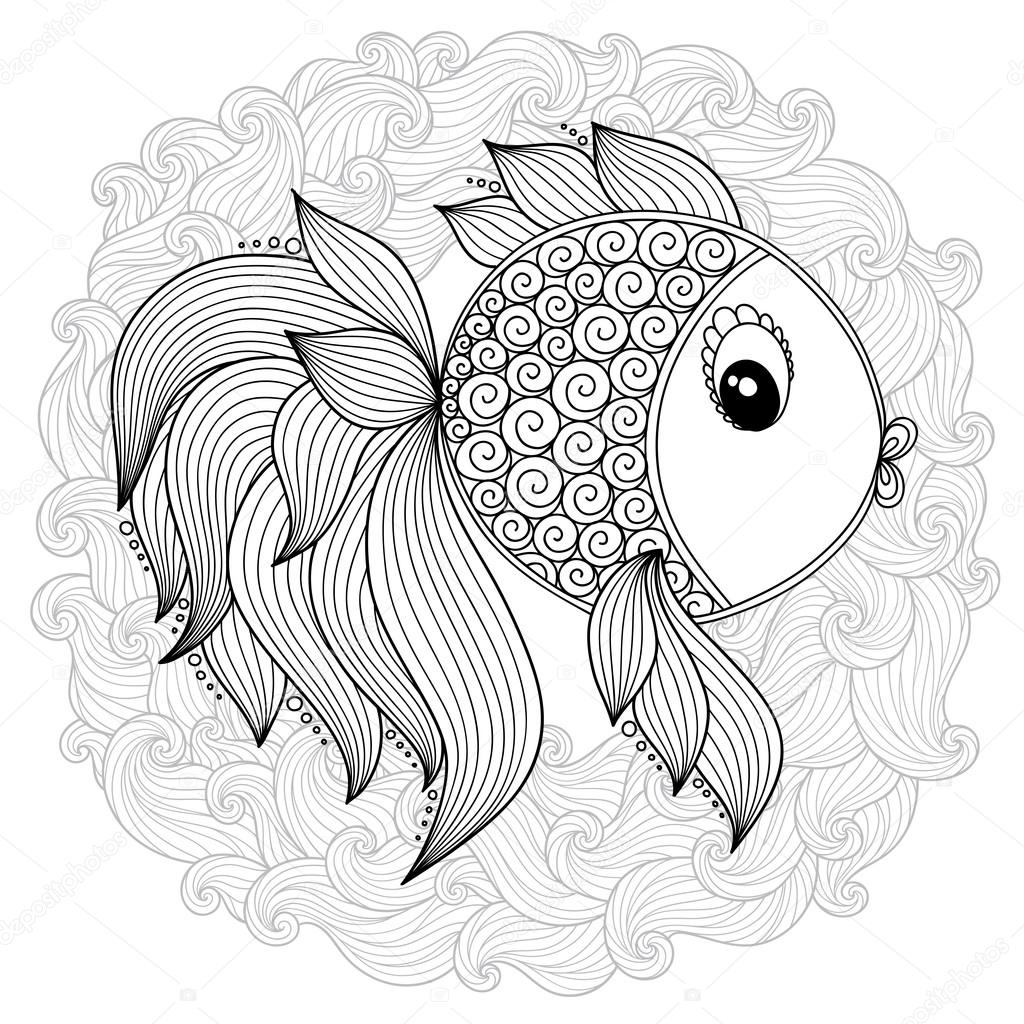 Coloring book pages for kids and adults. Raster Cartoon Fish ...