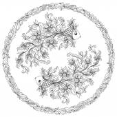 Hand drawn line flowers art of zodiac Pisces.