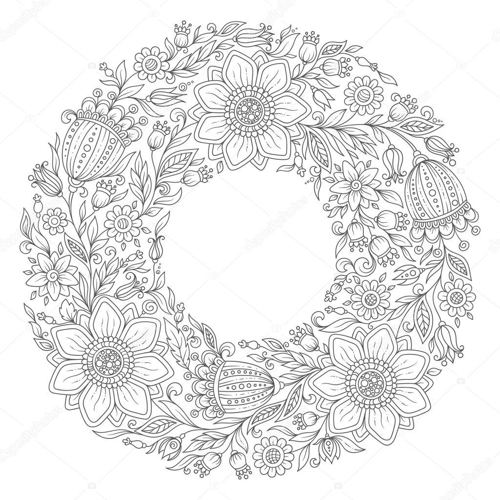 Guirlande De Fleurs Page De Livre De Coloriage Pour Adulte Image