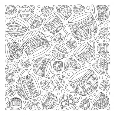 Pattern for coloring book with cups .